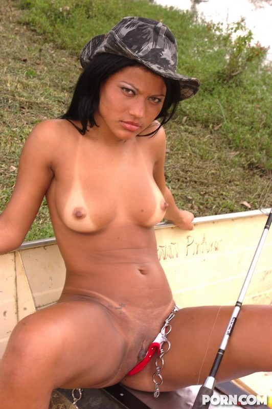 naked woman fishing