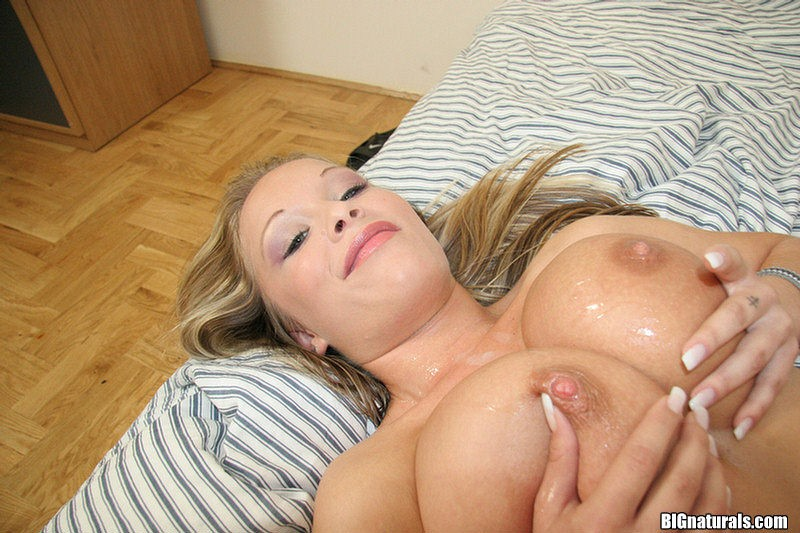 Cum on natural tits
