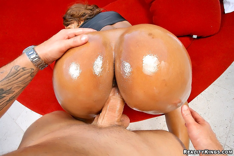 tanned oiled ass fucked doggy style