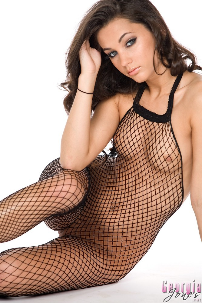 sexy model wearing body stocking