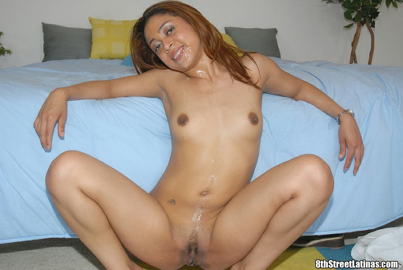 pretty latina receives cumshot