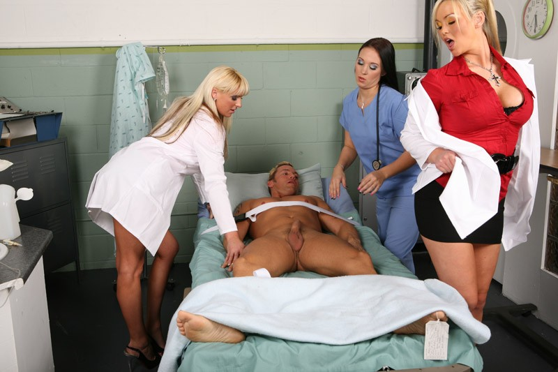 three horny nurses fuck guy at the hospital