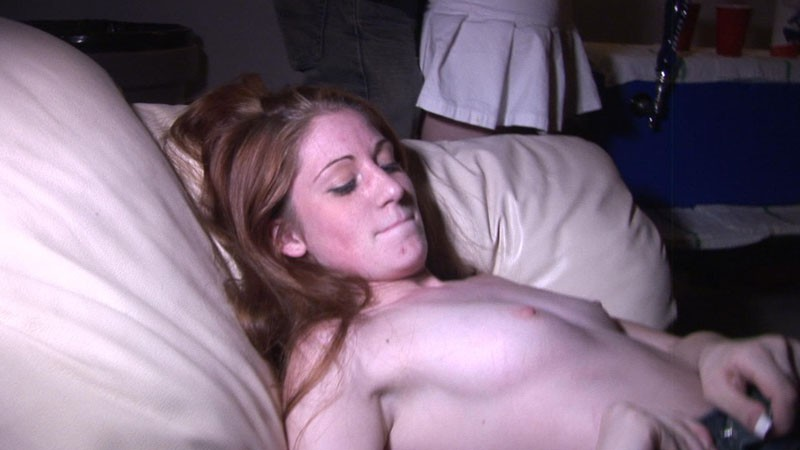 drunk topless college babe taking off her pants
